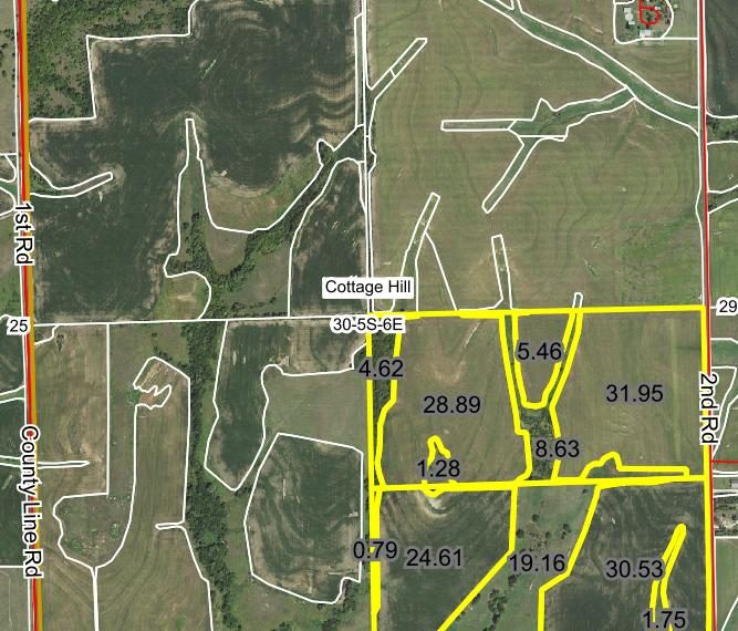 Tract 1 - Aerial with field acres