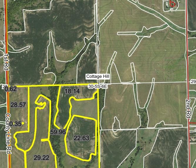 Tract 2 - Aerial with field acres